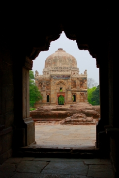 A view of the ' Sheesh Gumbab' from inside the Bara gumbad.